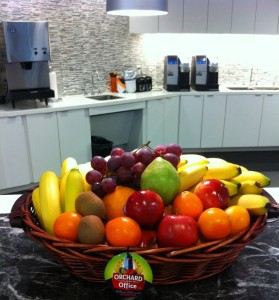 Before long ORCHARD At The OFFICE fresh fruit baskets graced the kitchen countertops of some of the finest Metroplex businesses.