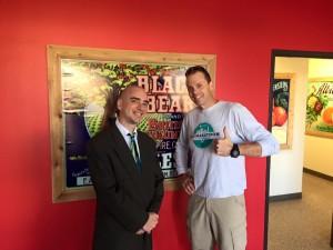 Chris Buchanan smiles with Sean Jett of the Dallas Running Club