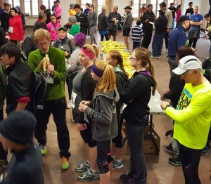 "Runners at the DRC ""Love the Loop"" replenish after giving it their all with bananas supplied by ORCHARD At The OFFICE."