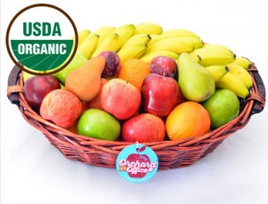 Our immensely-popular large office basket, now available with all-organic fruit!