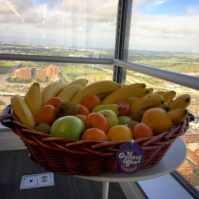 Fresh fruit displayed in a Dallas high-rise lounge
