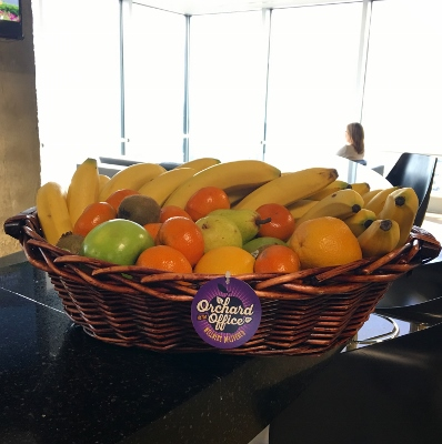 Fresh fruit displayed in a Houston high-rise lounge